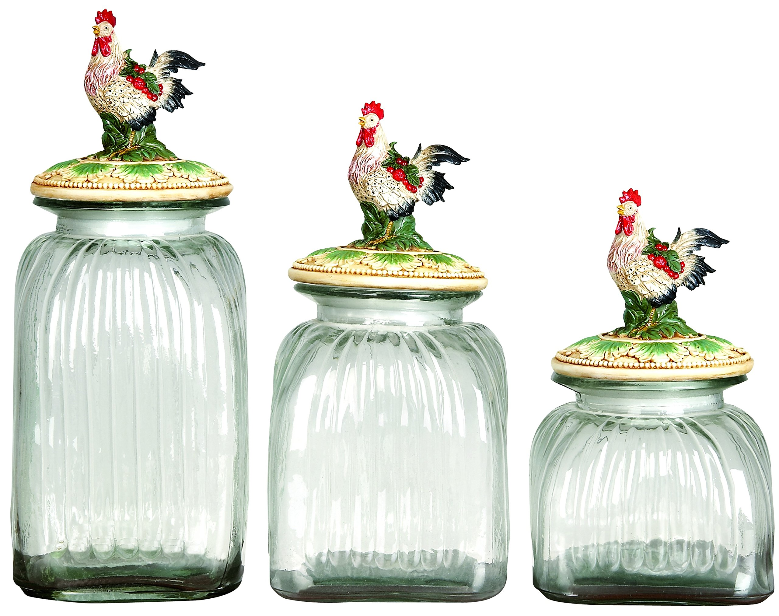 Plutus Brands Beautifully Carved Polystone Glass Rooster Canister (Set of 3)