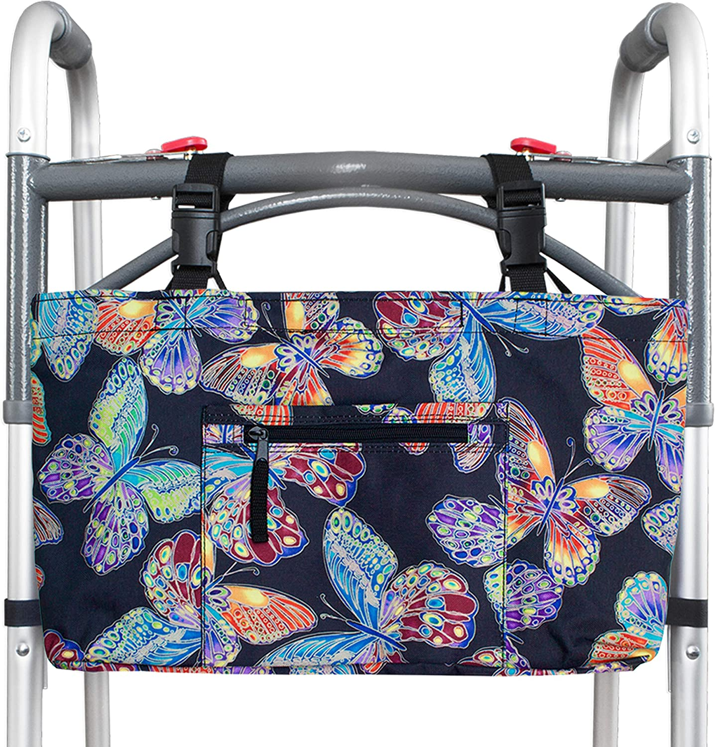 RMS Walker Bag with Soft Cooler - Water Resistant Tote with Temperature Controlled Thermal Compartment, Universal Fit for Walkers, Scooters or Rollator Walkers (Vivid Butterfly): Health & Personal Care