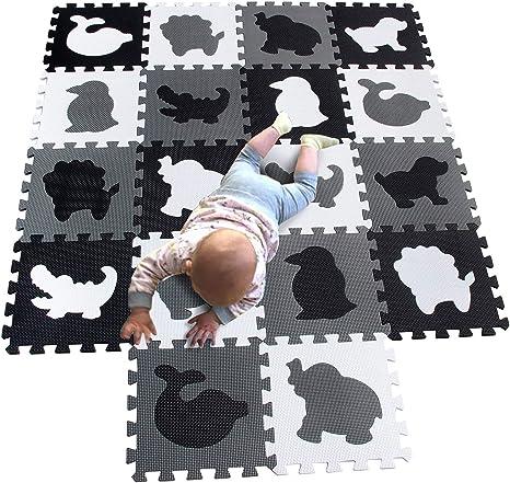 MQIAOHAM alfombra puzzle bebe parque infantil manta suelo grande goma eva acolchada alfombras acolchadas juegos bebes manta tapete zona blanco negro gris P051HBH