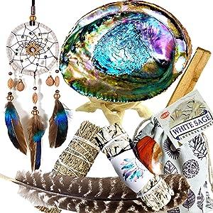 Smudge Kit Spiritual Native 12 Healing Gifts Set, Smudging Kit, Dream Catcher Home Blessing Sage Kit, Abalone, White & Blue Sage Bundles, Incense Burning Kit, Smudge Feather, Cleansing Ritual