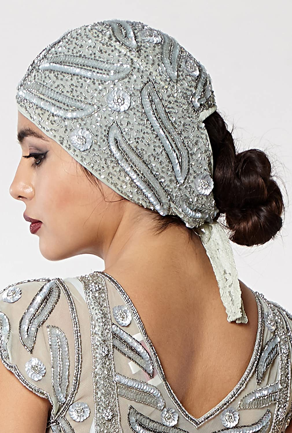 1920s Hairstyles History- Long Hair to Bobbed Hair gatsbylady london Juliet Vintage Inspired Flapper Cap in Grey Silver $35.07 AT vintagedancer.com