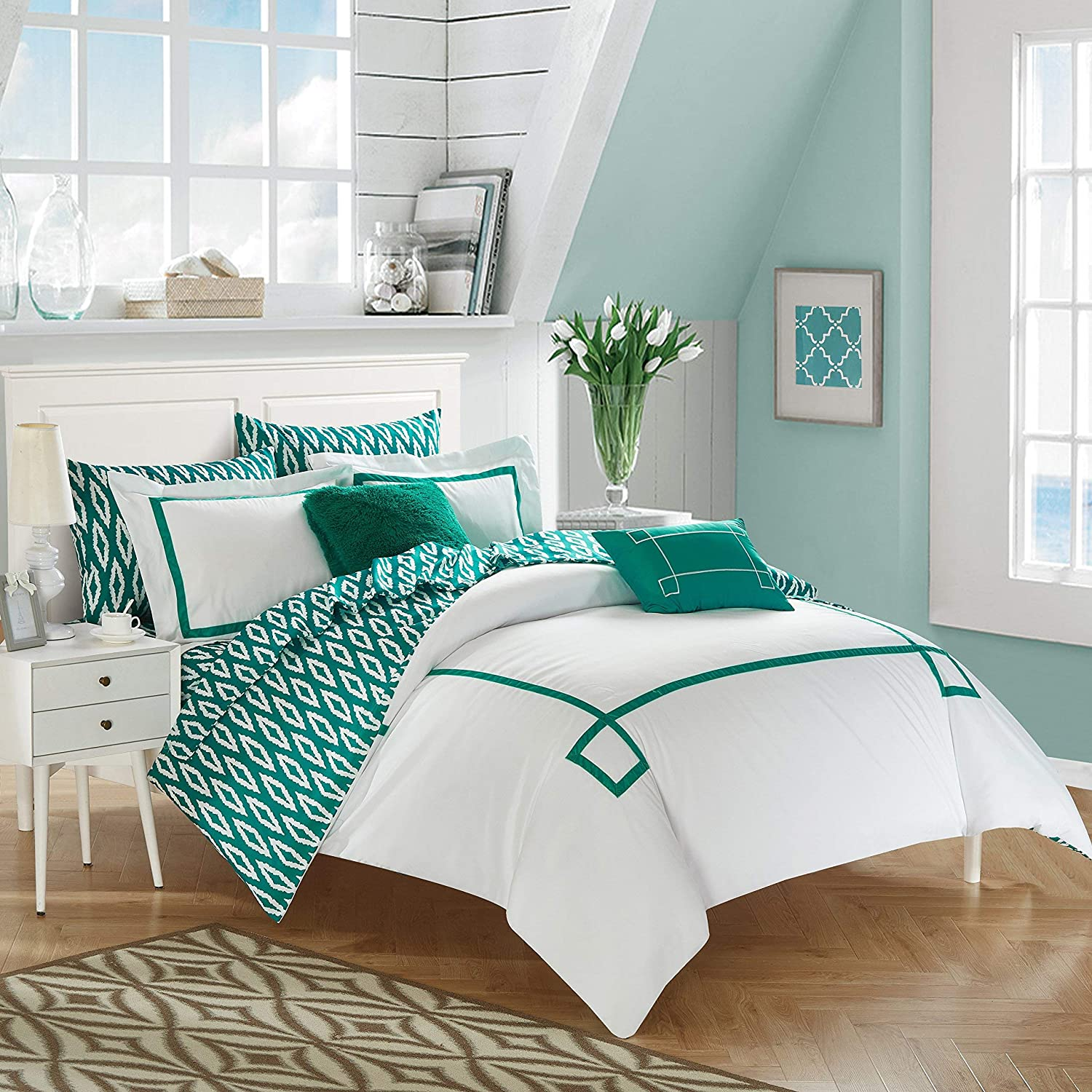 Chic Home 9 Piece Trace Contemporary Greek Key Embroidered Reversible Queen Bed in a Bag Comforter Aqua with Sheet Set