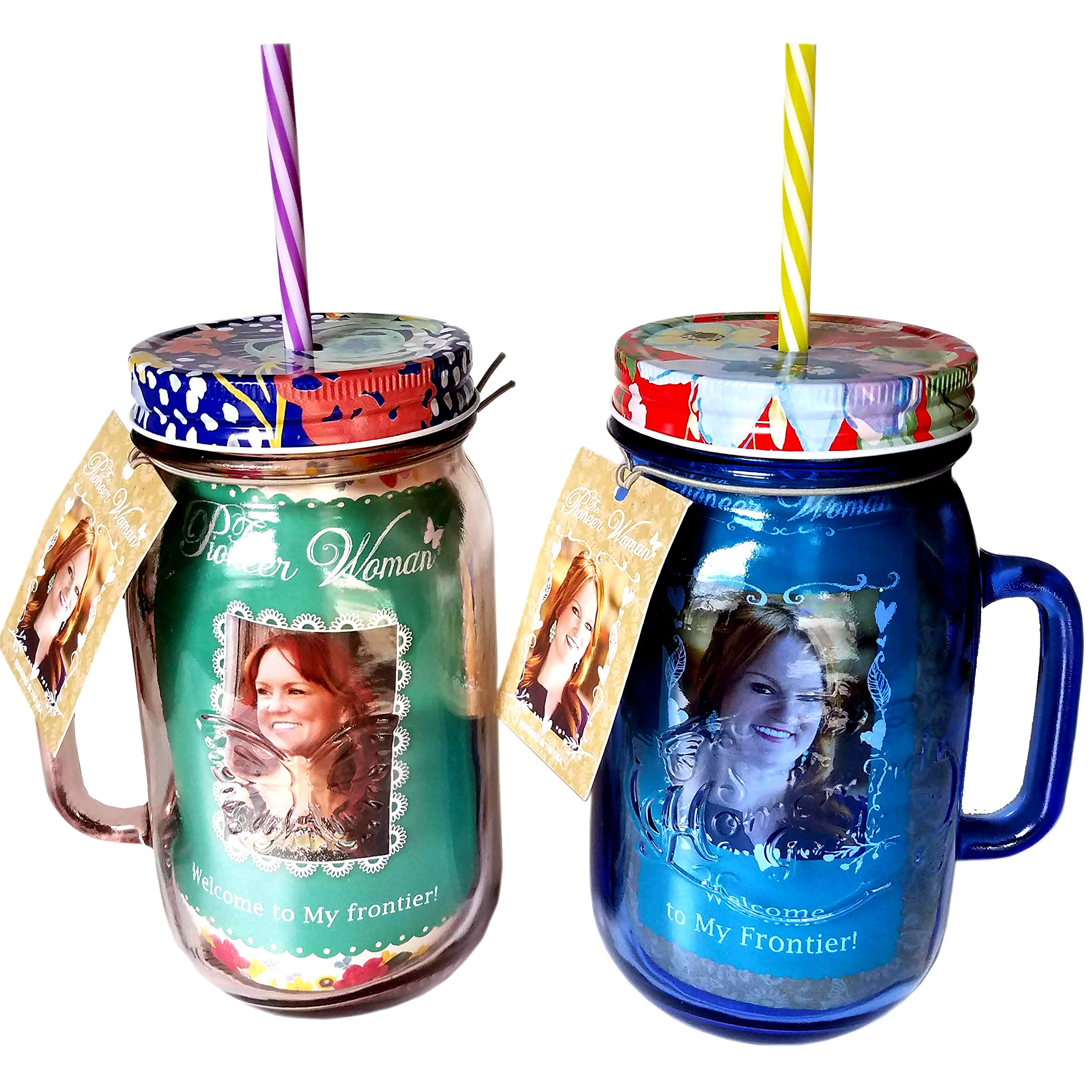 The Pioneer Woman 32 oz Drinking Mason Jars Rosewood and Sapphire Set with Lids and Straws