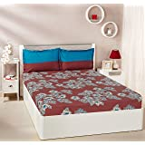 Amazon Brand - Solimo Floral Flakes 144 TC 100% Cotton Double Bedsheet with 2 Pillow Covers, Maroon