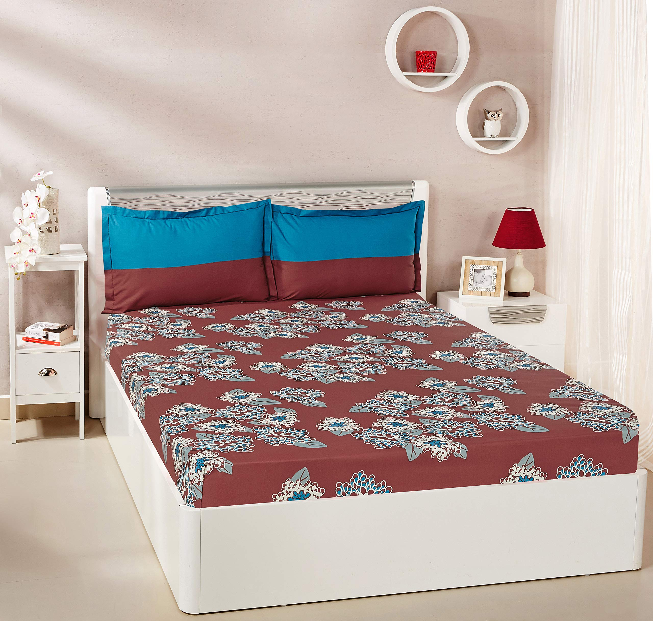 Amazon Brand - Solimo Floral Flakes 144 TC 100% Cotton Double Bedsheet with 2 Pillow Covers, Maroon product image