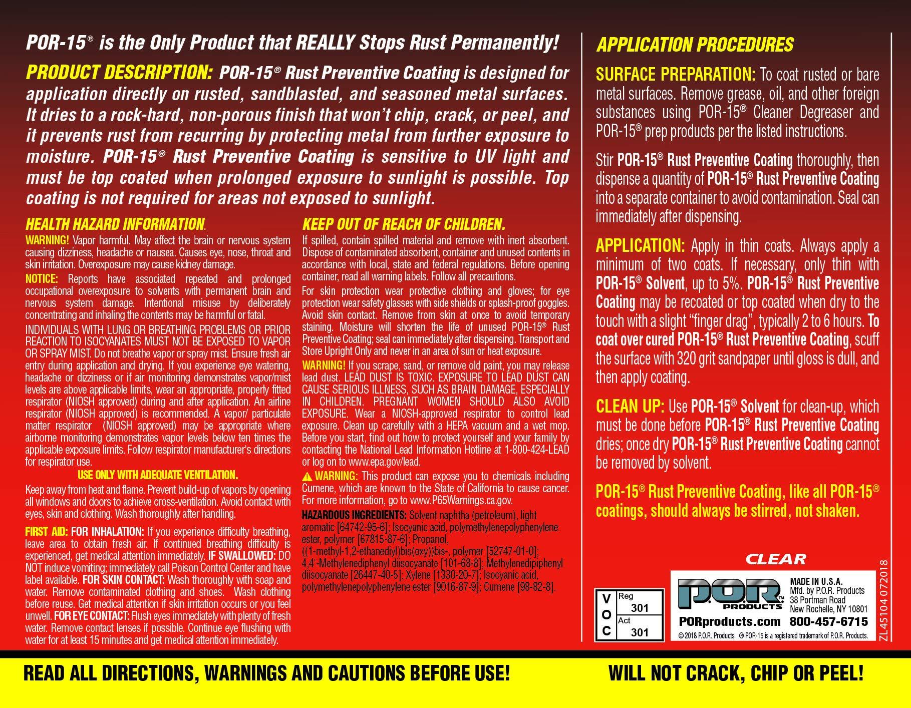 POR-15 45104 Clear Rust Preventive Coating - 1 quart by POR-15 (Image #3)