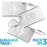 CE Luggage Tags3 Units Travel Suitcase Bag tag, Stainless Steel. 1-Year Warranty.