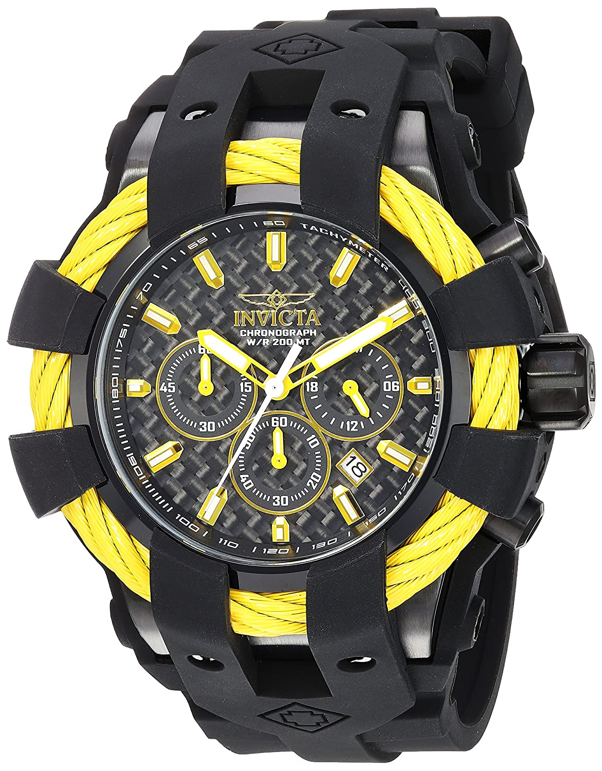 Amazon.com: Invicta Men's 'Bolt' Quartz Stainless Steel and Silicone Casual  Watch, Color:Black (Model: 23871): Invicta: Watches