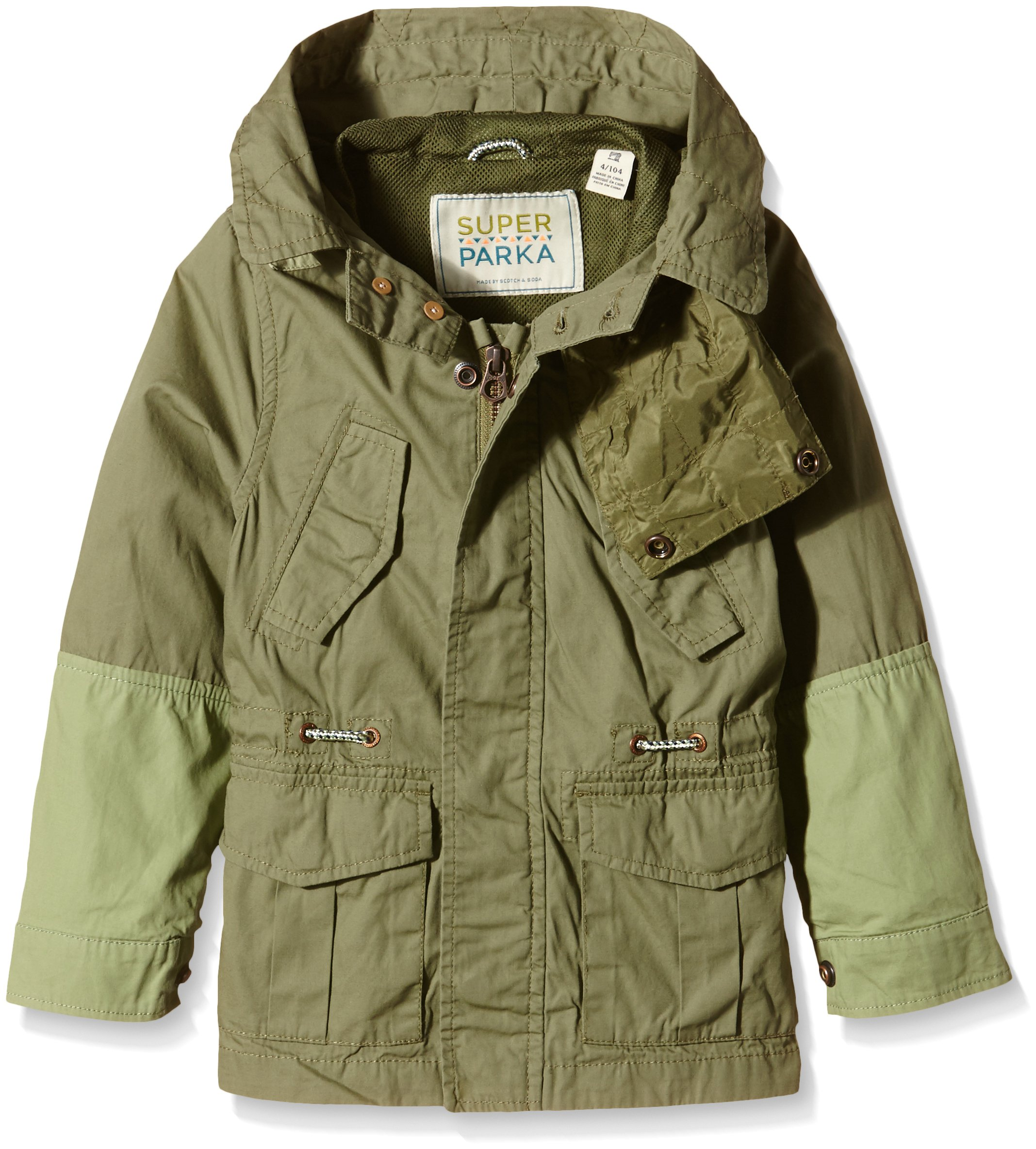 Scotch & Soda Kids Jacket with Hood and Pockets, Green, 6 by Scotch & Soda