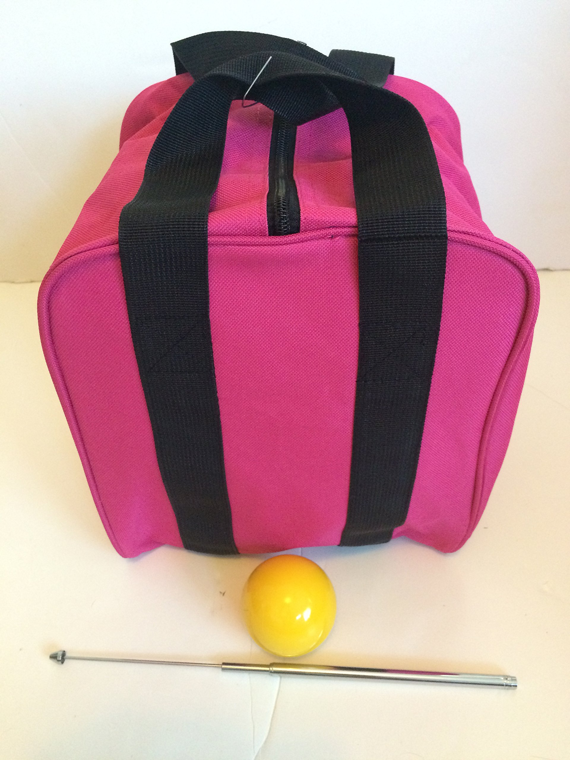 Unique Bocce Accessories Package - Extra Heavy Duty Nylon Bocce Bag (Pink with Black Handles), Yellow pallina, Extendable Measuring Device