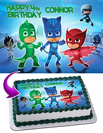 PJ Masks Disney Junior Quarter Sheet Edible Photo Birthday Cake Topper. ~ Personalized! 1