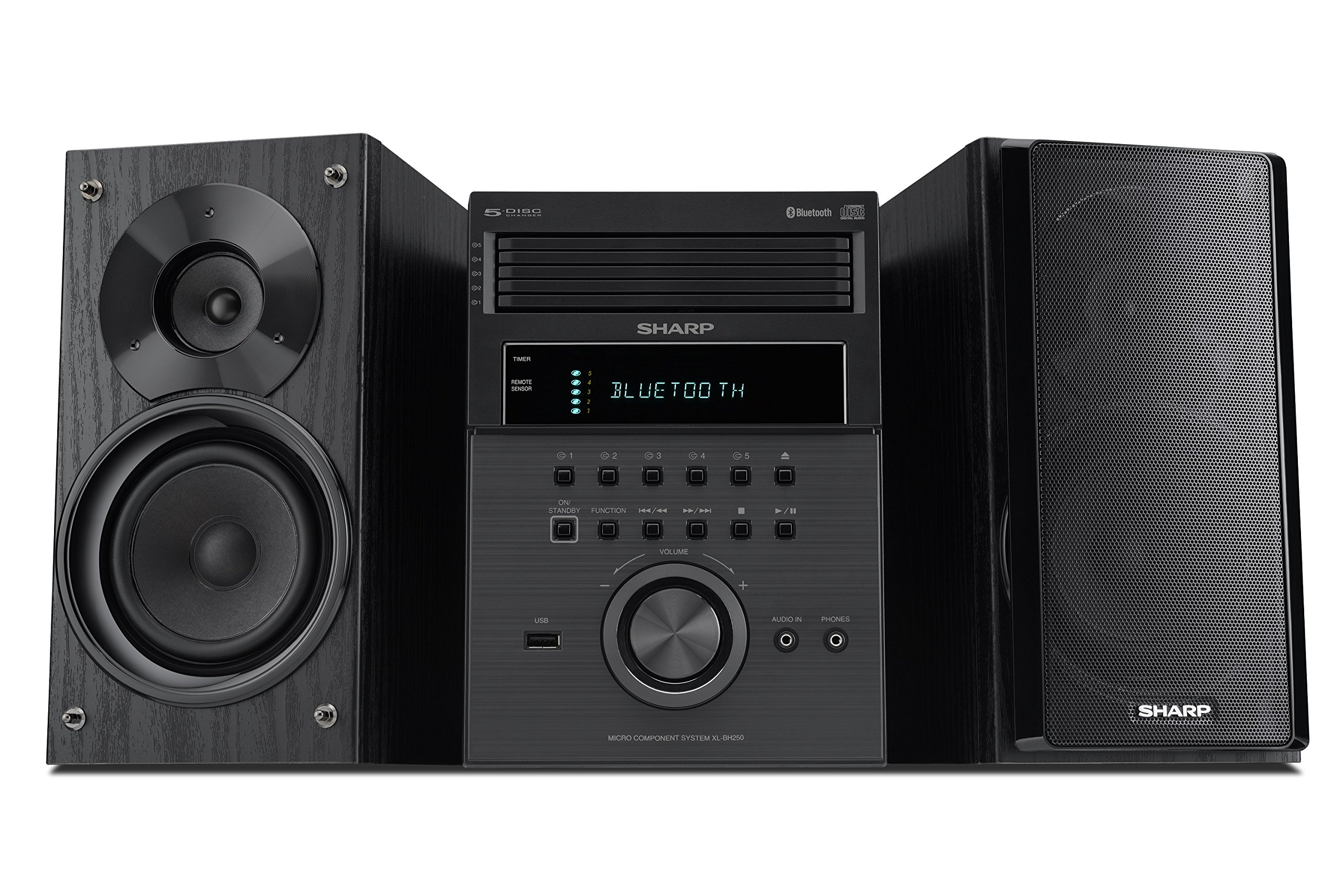 Sharp XL-BH250 Sharp 5-Disc Micro Shelf Executive Speaker System with Bluetooth, USB port for MP3 Playback, AM/FM, Audio In for Digital Players by Sharp