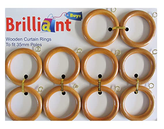 10 Pack Of Large Wooden Curtain Rings For 35mm Poles