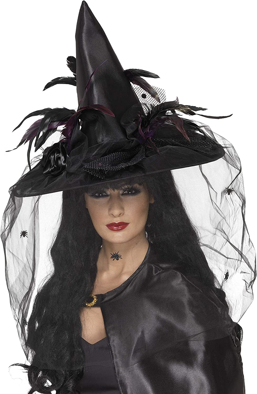Cappello Da Strega /& Piume Donna Halloween Costume Accessorio Deluxe Nero