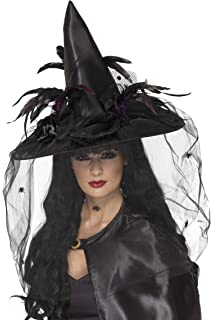 6a84e589c Ladies Black Witches Hat Halloween Fancy Dress Costume Accessory ...