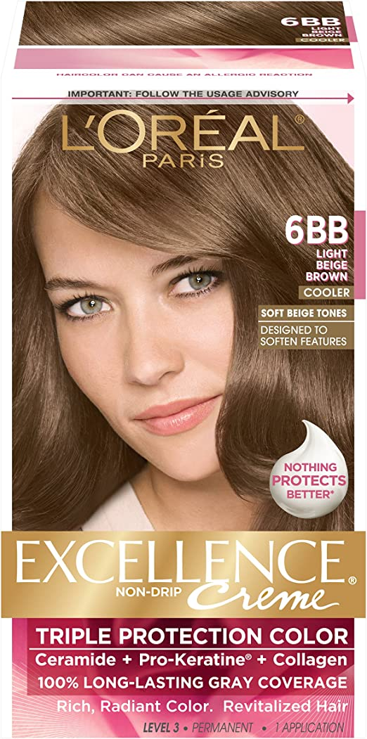 LOreal Paris Excellence Creme Hair Color, Light Beige Brown 6BB (Packaging may vary) by LOreal Paris