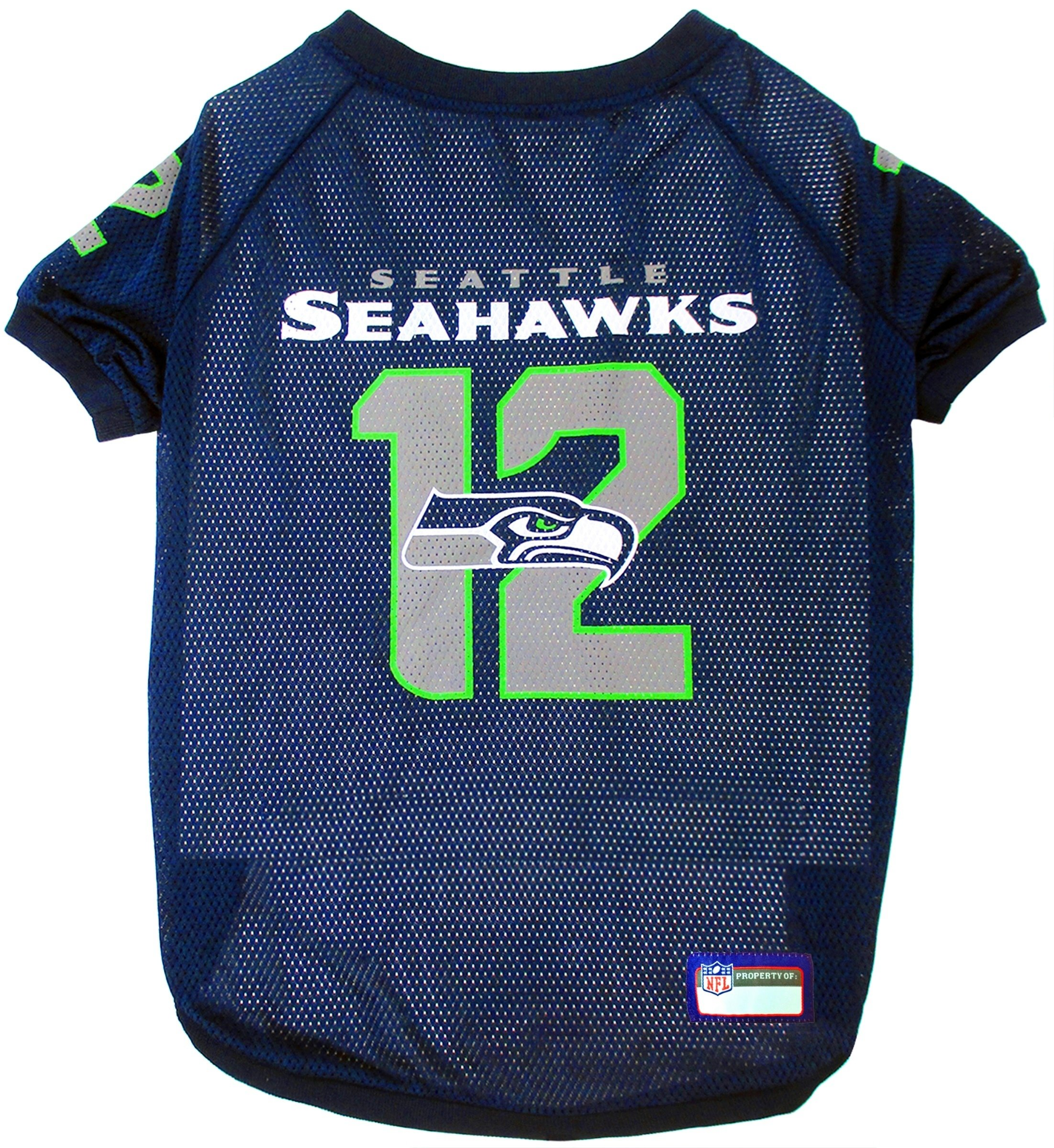 NFL Seattle Seahawks Jersey for Pets. - Seattle Seahawks Raglan Jersey 12th Man - XX-Large. Cutest Football Jersey for Dogs & Cats by Pets First