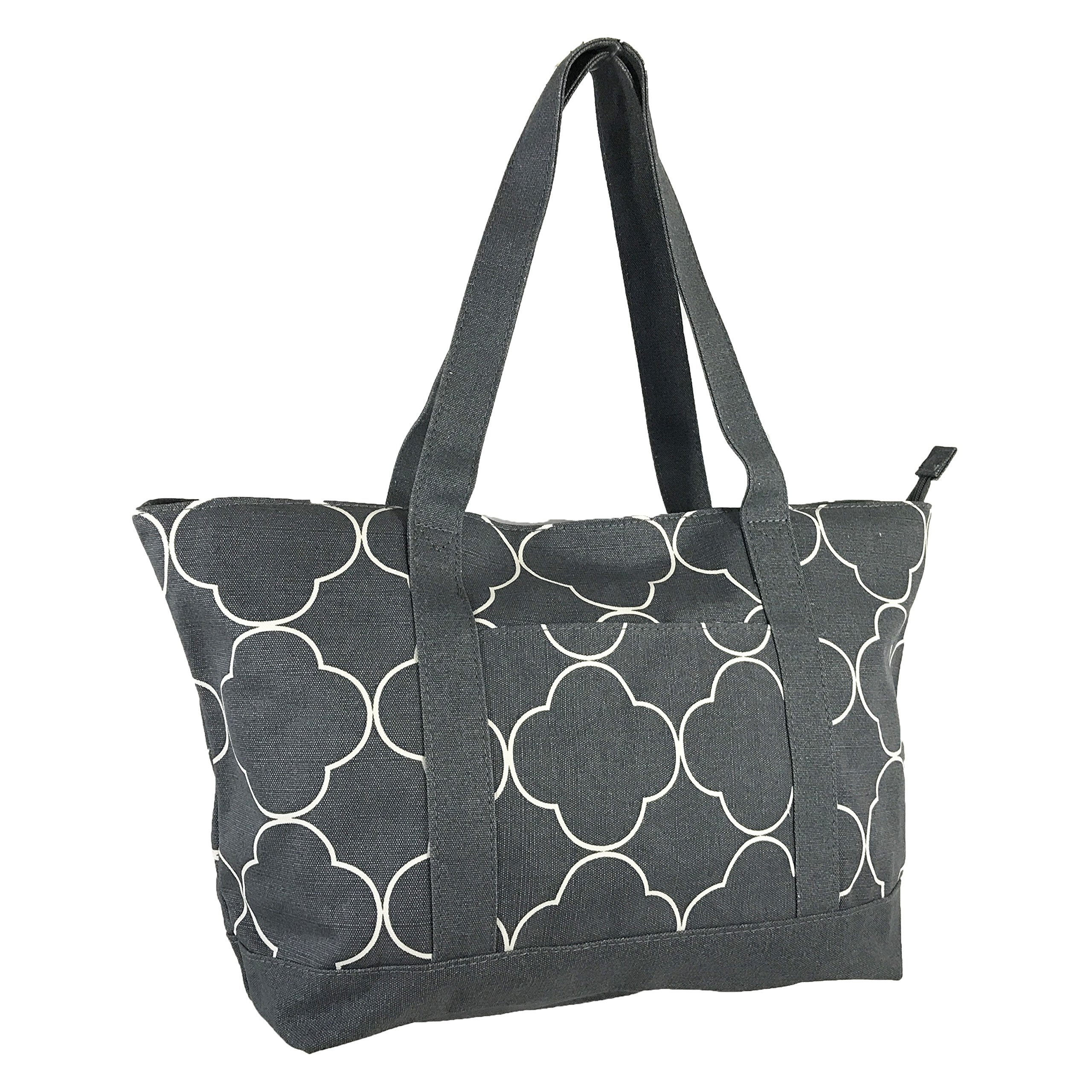 Allgala Extra Large Roomy Premium Canvas Tote Bag With Fashion Prints, Quartrefoil Grey