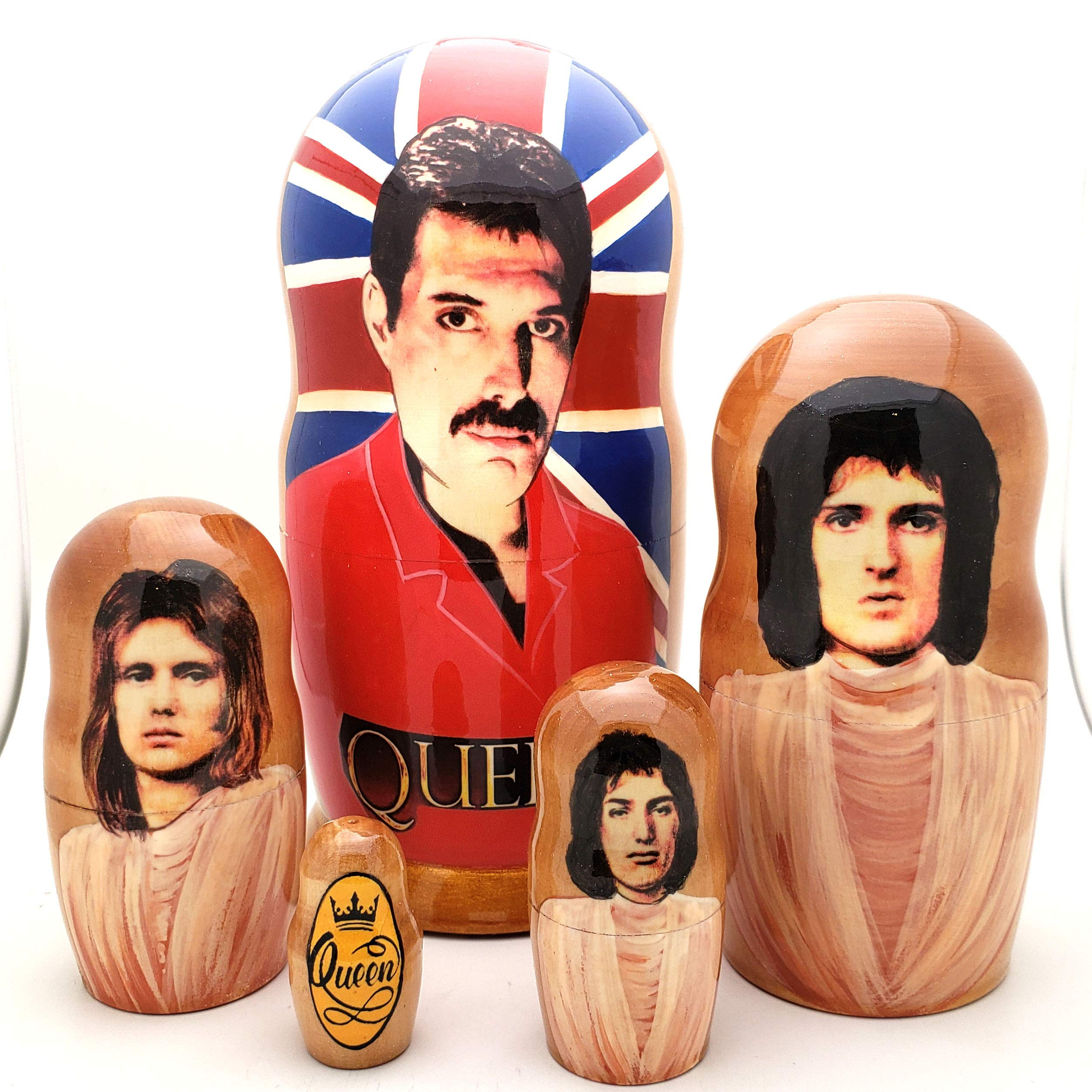 Queen Band Russian Nesting Dolls 5 Piece Doll Set 7'' Tall / Freddie Mercury, Brian May, Roger Taylor, John Deacon