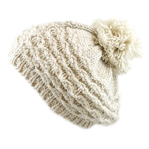 THE HAT DEPOT 700HAT-52 Sequin Knit Beret Hat with Pom Pom (Beige ... 8cdb1c55512