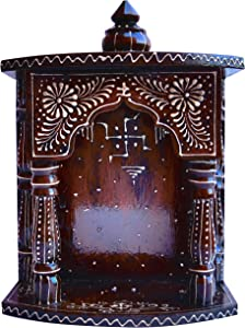 Hindu Religious Temple Made with Wood & MDF, Hand Painted with Emboss Cone Work with swasthik Symbol, A Auspicious and Religious Décor and Handicraft & Religious Art