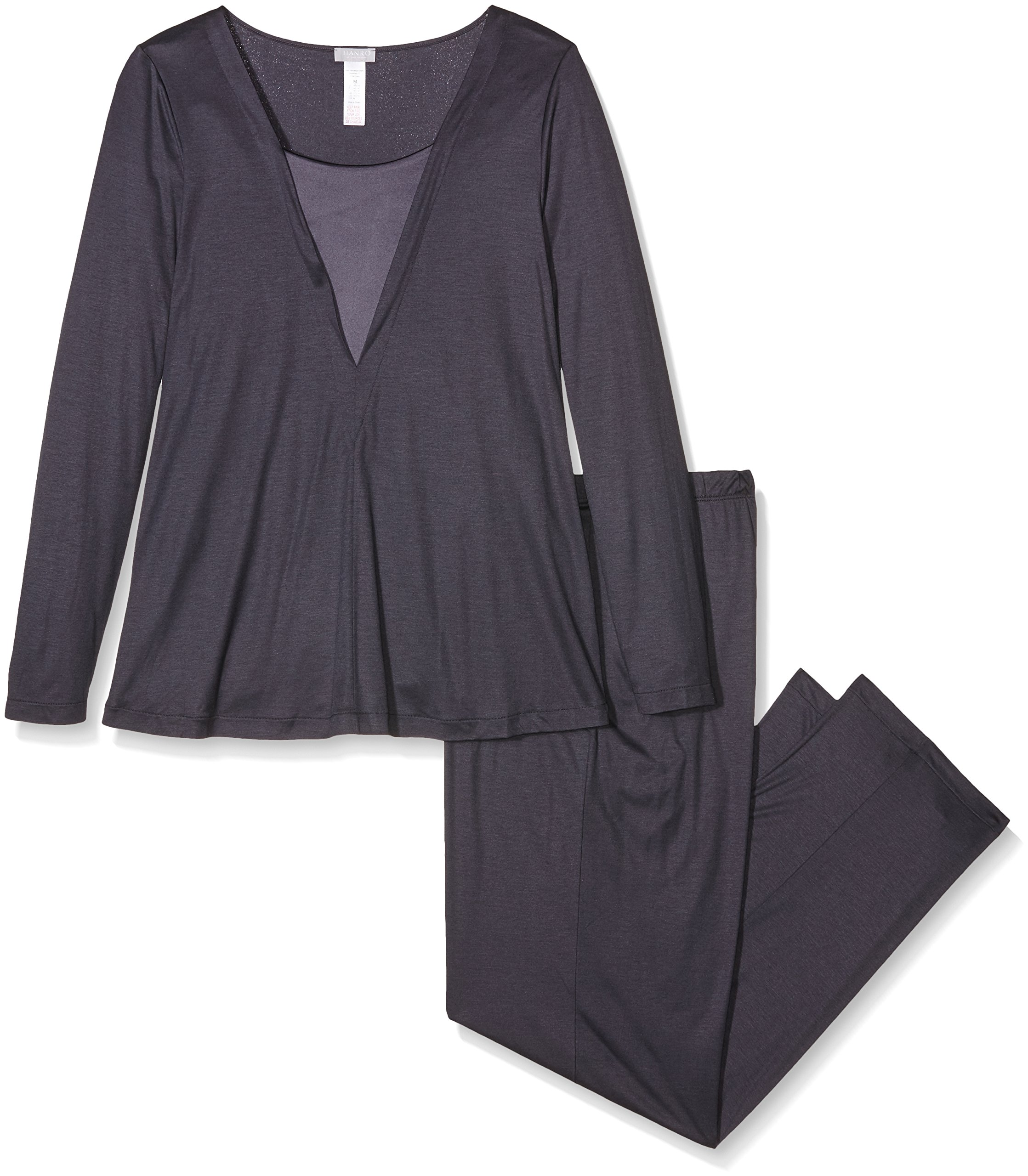 Hanro Women's Viola Long Sleeve Pajama Set, Purple Grey, X-Small