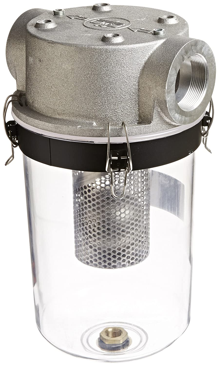 """Solberg STS-200C Inlet See Through Liquid Separator Vacuum Pump Air Filter, 2"""" FPT Inlet/Outlet, 16-1/4"""" Height, 9"""" Diameter, 175 SCFM, Made in the USA"""
