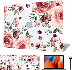 VAESIDA Case Compatible with MacBook Pro 15 Inch 2016-2019 Release Model (A1990/A1707), Floral Embossed Laptop Case & Keyboard Cover & Screen Protector ONLY for 15 Pro Touch Bar Ver, Camellia