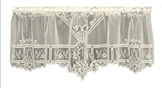 product image for Heritage Lace Heirloom 60-Inch Wide by 22-Inch Drop Sheer Valance, Ecru