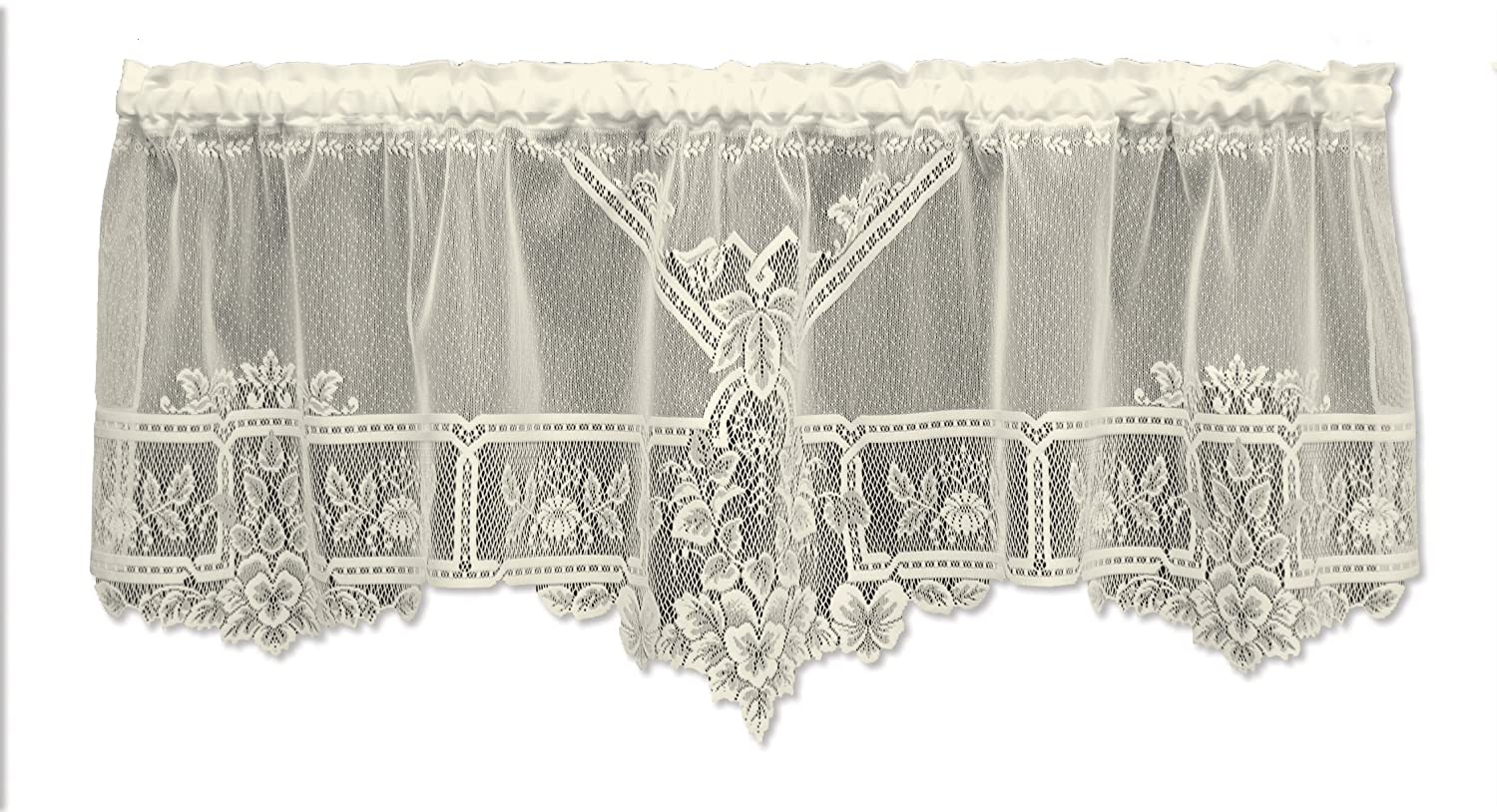 Heritage Lace Heirloom 60-Inch Wide by 22-Inch Drop Sheer Valance, Ecru 9700E-6022P