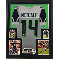 $425 » DK Metcalf Seattle Seahawks Autograph Signed Custom Framed Jersey Suede Matted Grey 4 Pic JSA Witnessed Certified