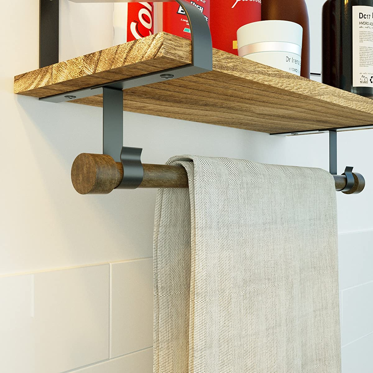 Love-KANKEI Wall Shelf for Storage - Rustic Wood Kitchen Floating Shelves with Towel Bar and 8 Removable Hooks for Organize Cooking Utensils or Mugs Torched Finish