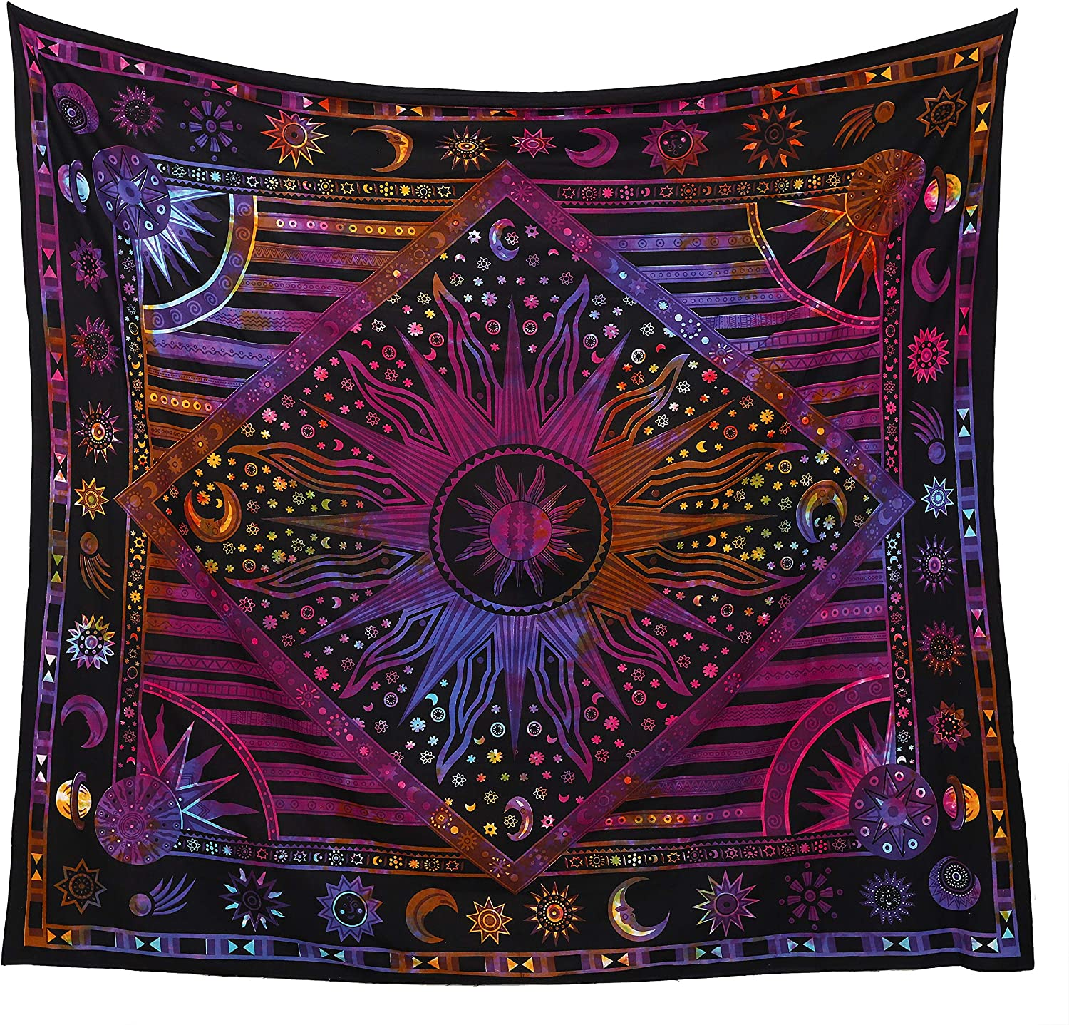 Popular Handicrafts Kp1113 Psychedelic Celestial Sun Moon Planet Bohemian Tapestry Wall Hanging Dorm Decor Boho Tapestries Hippie Hippy Purple tie dye Tapestry Beach Coverlet