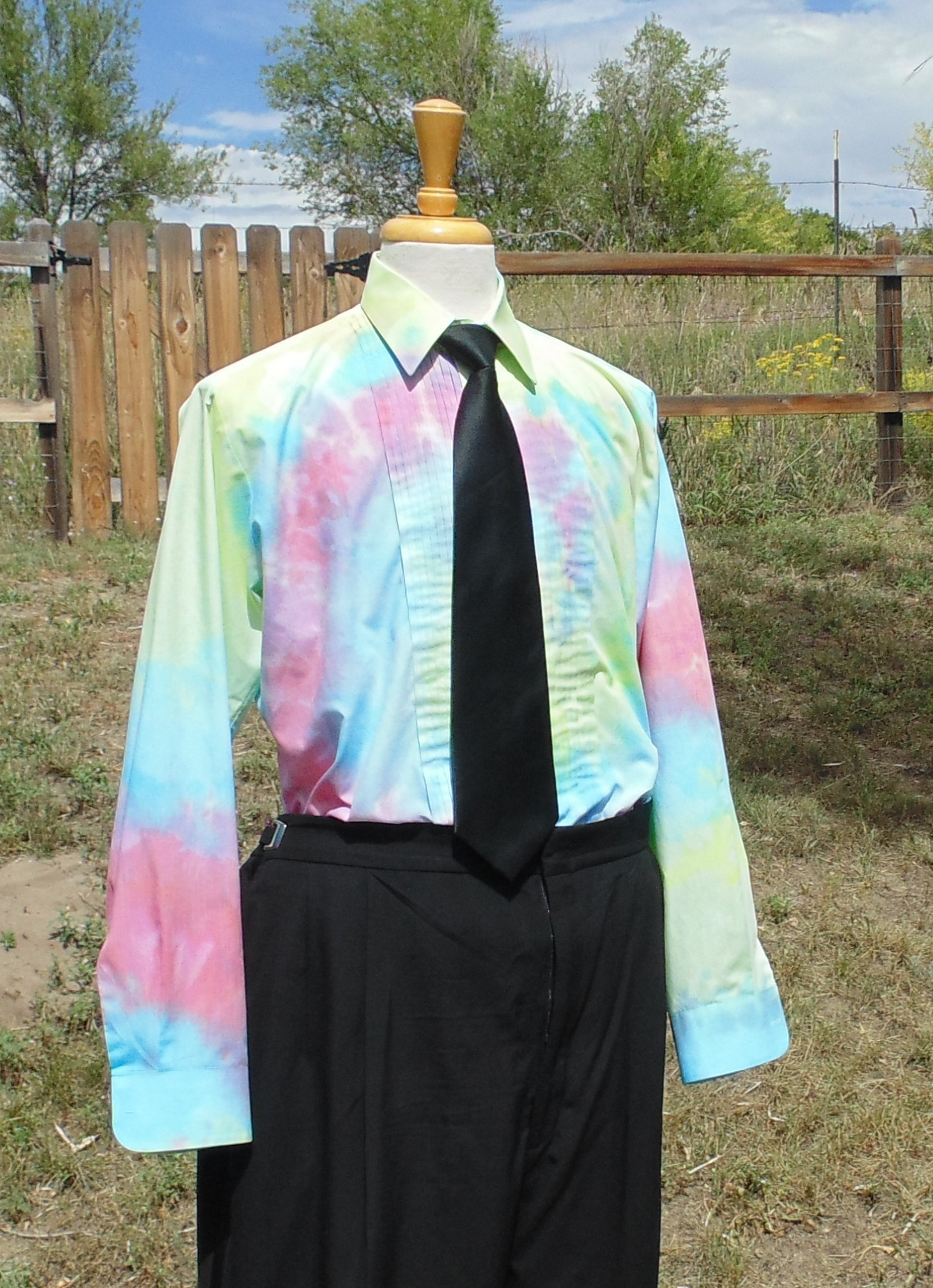 Men's Medium Hand Tie-dye Tuxedo Shirt by Fru Fru and Feathers Costumes & Gifts