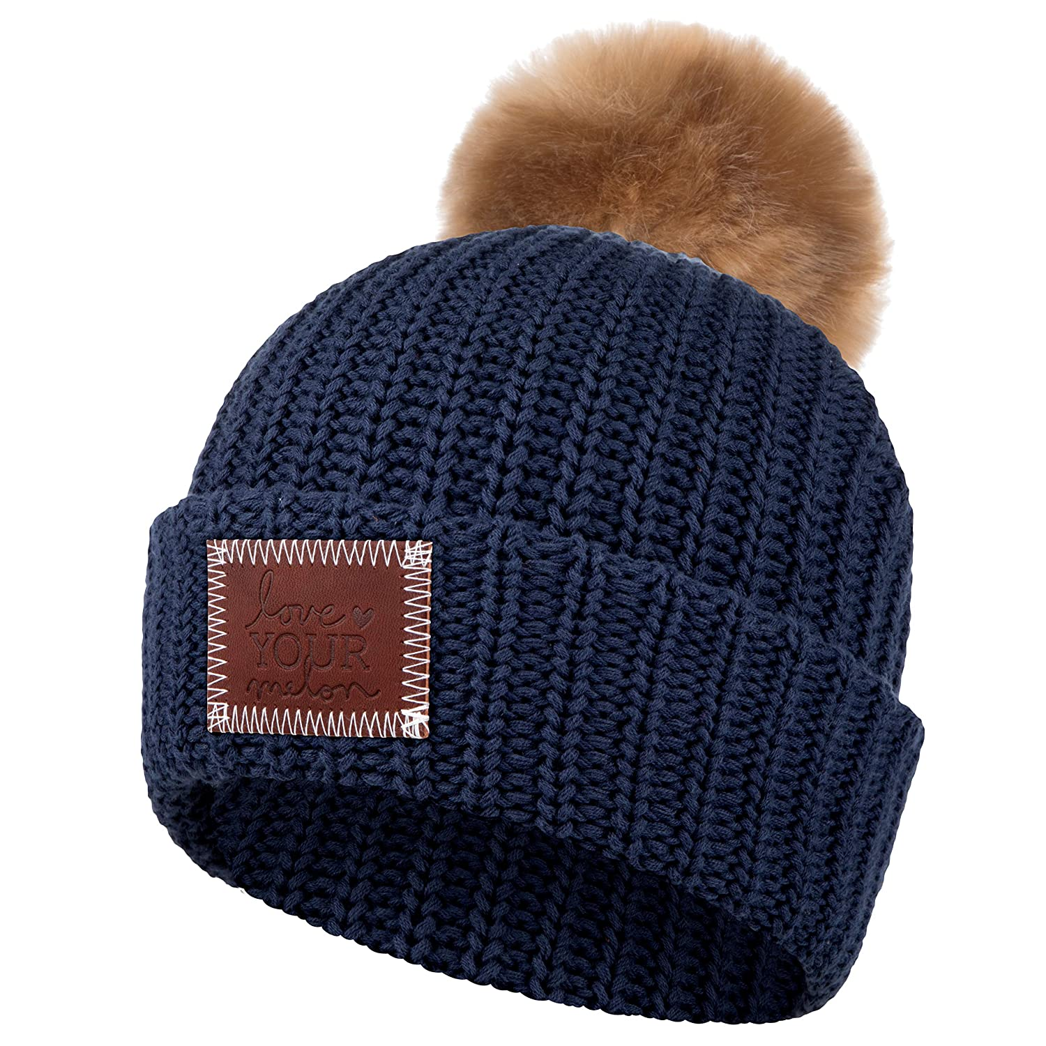 Love Your Melon Cuffed Pom Beanie Black (Natural Pom) at Amazon Men s  Clothing store  c65764b454c