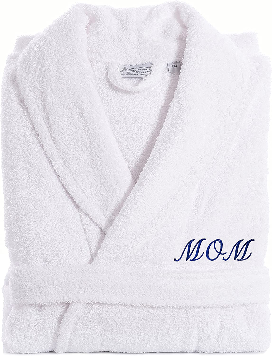 Linum Home Textiles TR00-LX-MOMN White Terry Bathrobe for MOM, Large/X-Large, Navy Embroidery