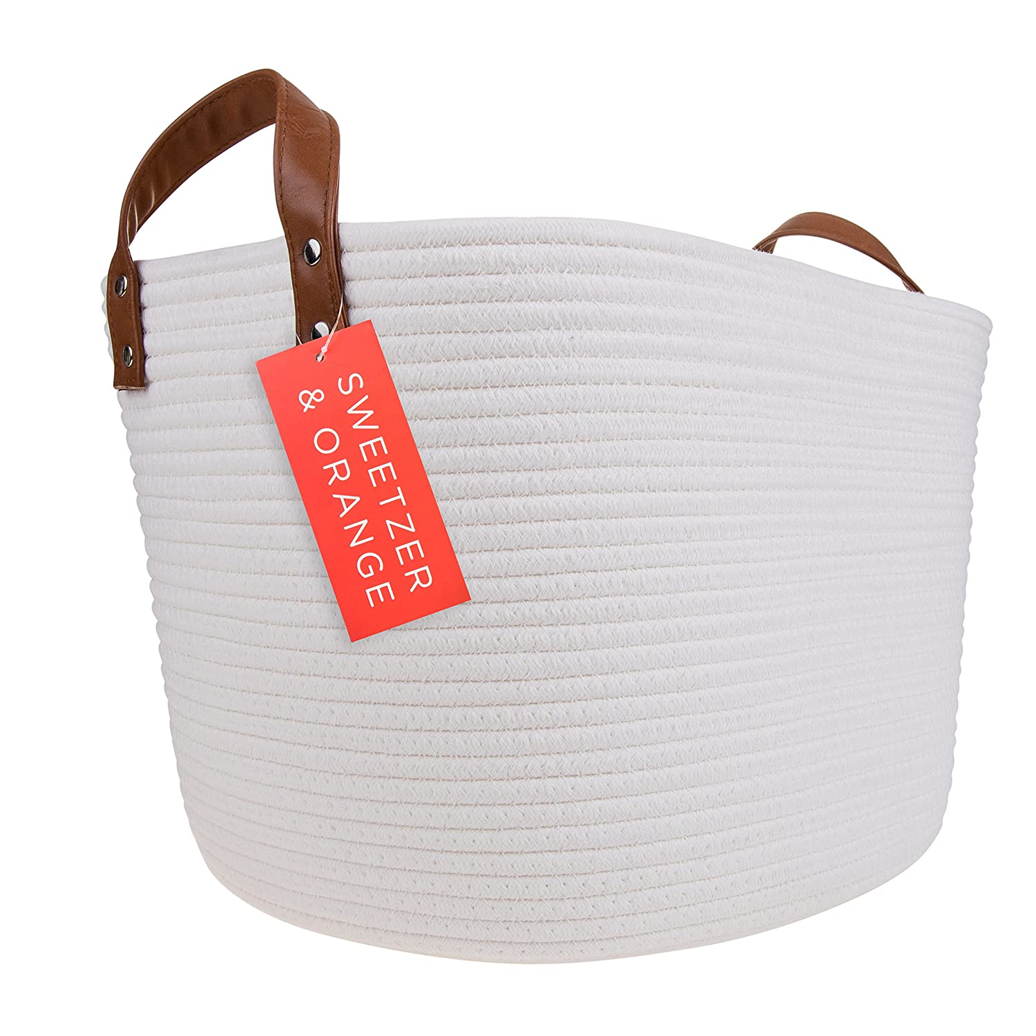 Sweetzer & Orange Large Woven Cotton Rope Storage Basket (Vegan Leather Handles) - Blanket Storage Baskets, Laundry Basket, Toy Storage, Nursery Hamper - Decorative Off White Basket for Living Room
