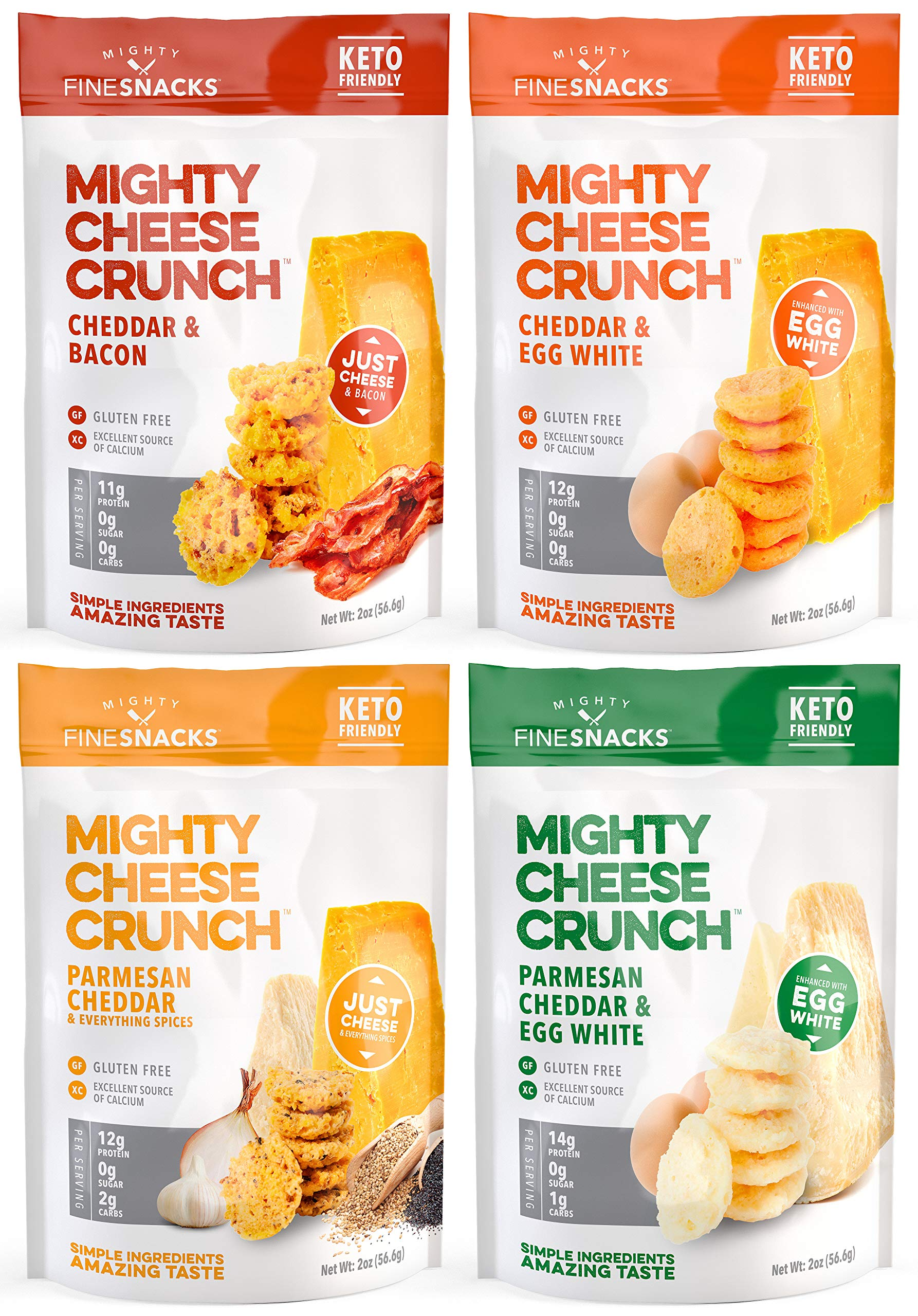 Low Carb, Gluten Free, High Protein Healthy Cheese and Egg Snack – Savory, Keto & Diet Friendly Cheese Crunch with Natural Ingredients, Variety Pack of 4, 2oz Bags, by Mighty Fine Snacks by Mighty Fine Snacks