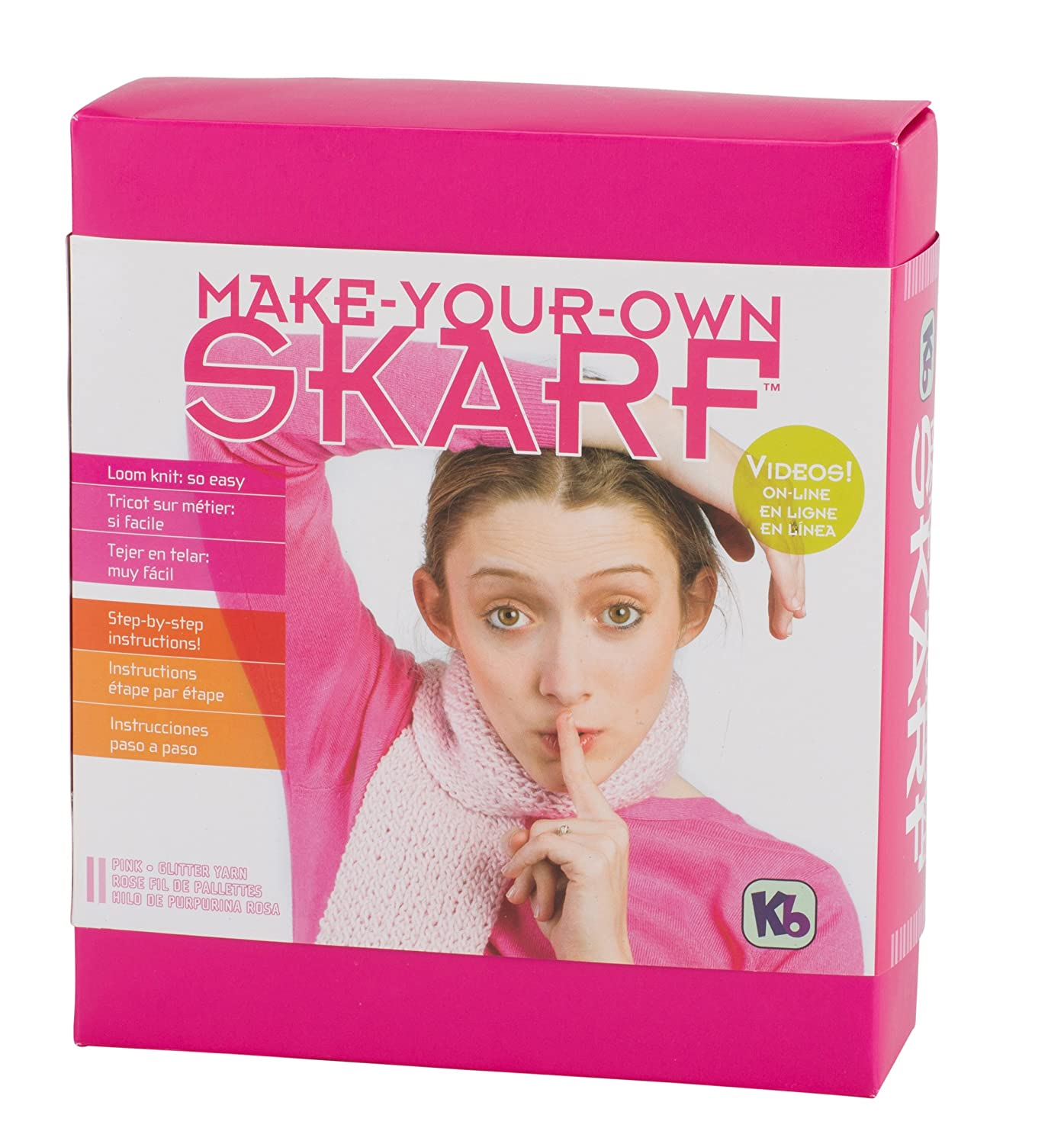 Authentic Knitting Board Skarf Kit//Glitter Yarn Pink