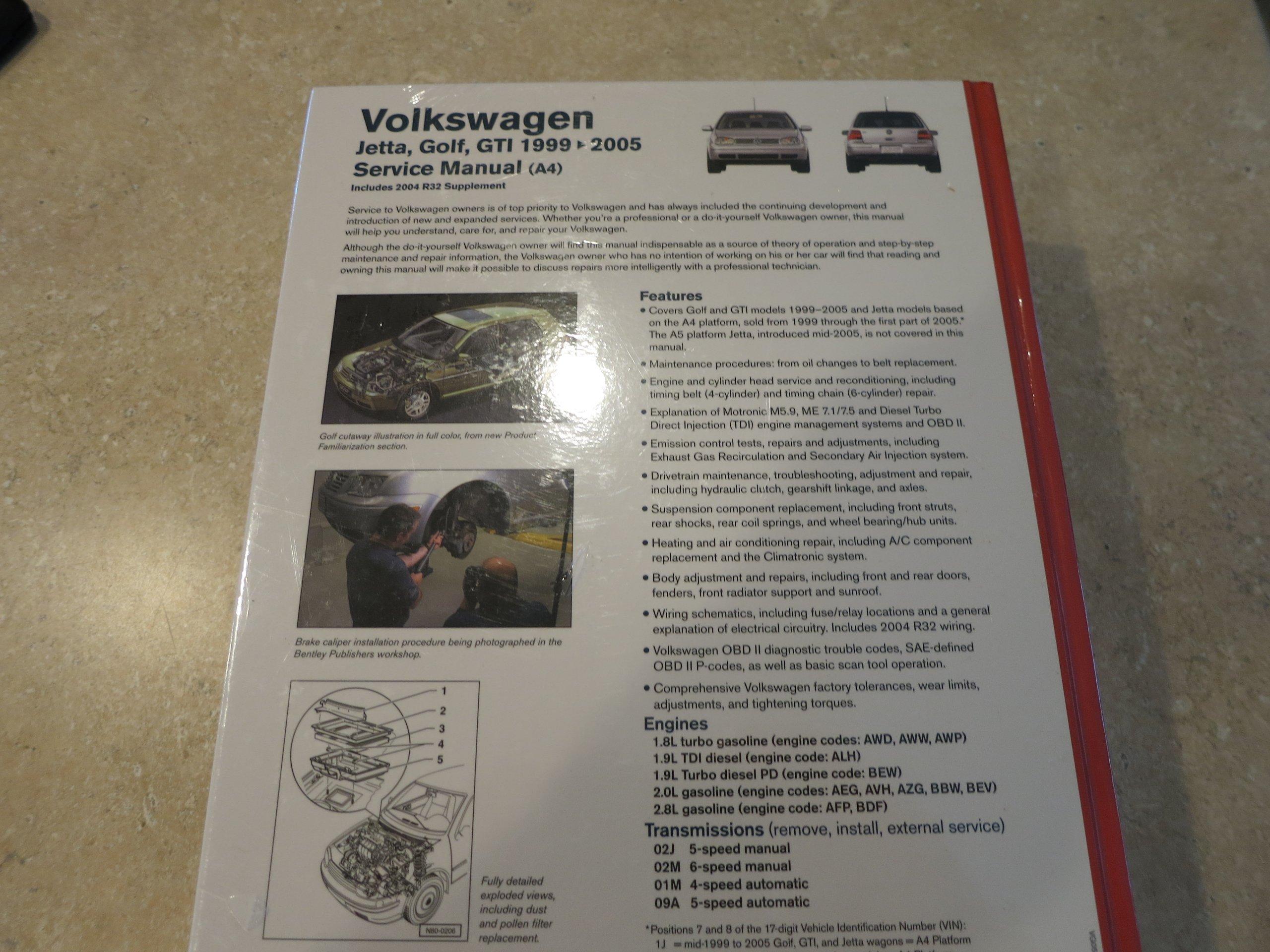 1999-2005 VW Jetta, Golf, GTI Bentley Repair Shop Manual: Volkswagen:  9780837616780: Amazon.com: Books