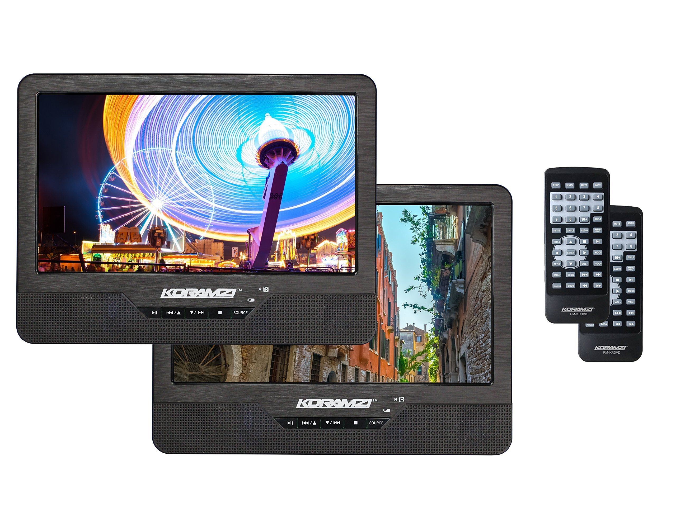Koramzi Portable 9'' Dual Screen Dual DVD Player W Rechargeable Battery/ AC Adapter/ AV In/ USB &SD / Remote Control/ Car Adapt/ IR Transmitter Ready/ USB /Headrest Mounting Kit (Certified Refurbished) by Koramzi