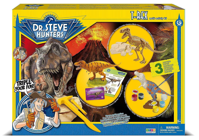 Kit di Dinosauro multiattivit/à Dr Steve Hunters 91081BF T Giocattolo scientifico educativo Milton Multicolore per Costruire Zio pitturare Rex