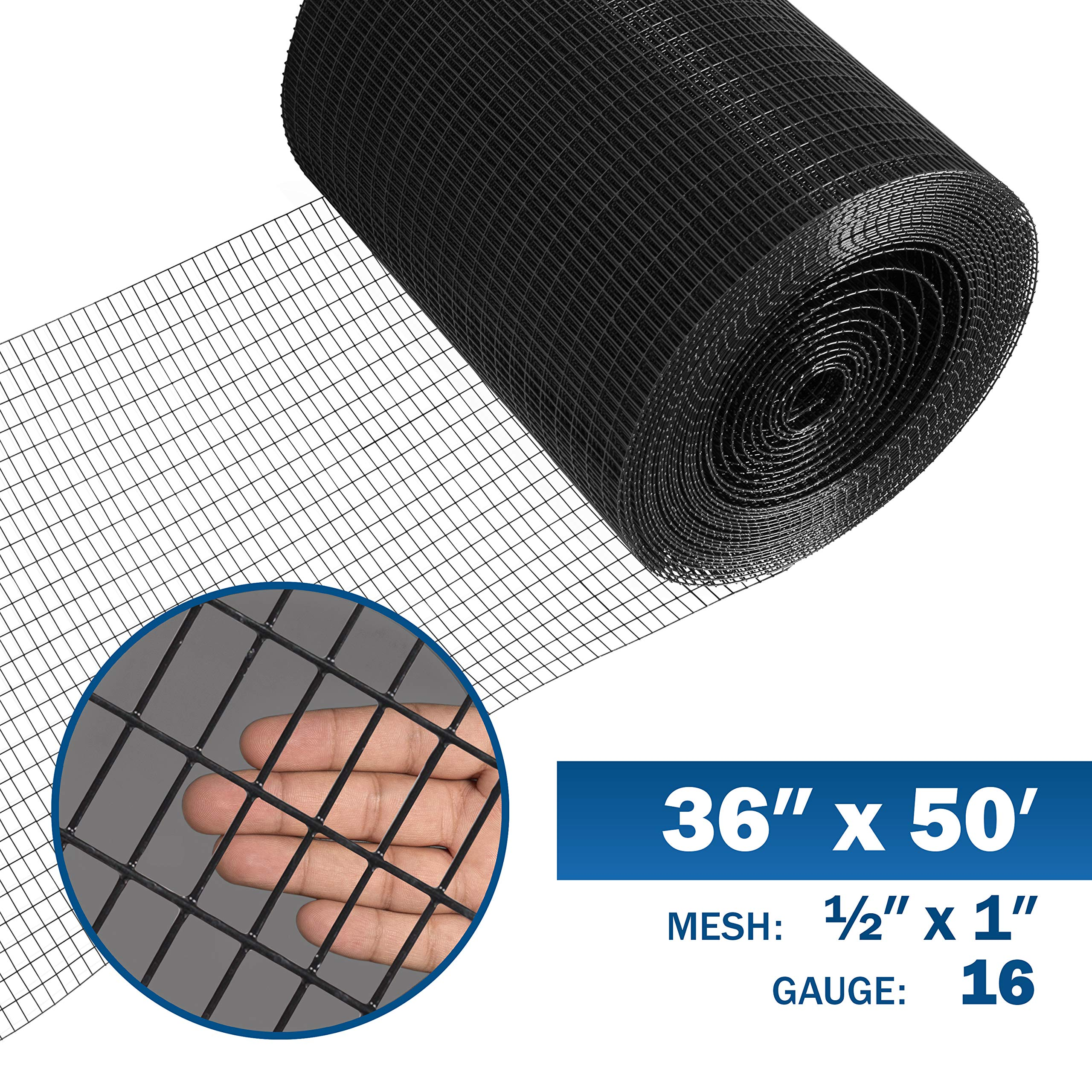 Fencer Wire 16 Gauge Black Vinyl Coated Welded Wire Mesh Size 0.5 inch by 1 inch (3 ft. x 50 ft.) by Fencer Wire