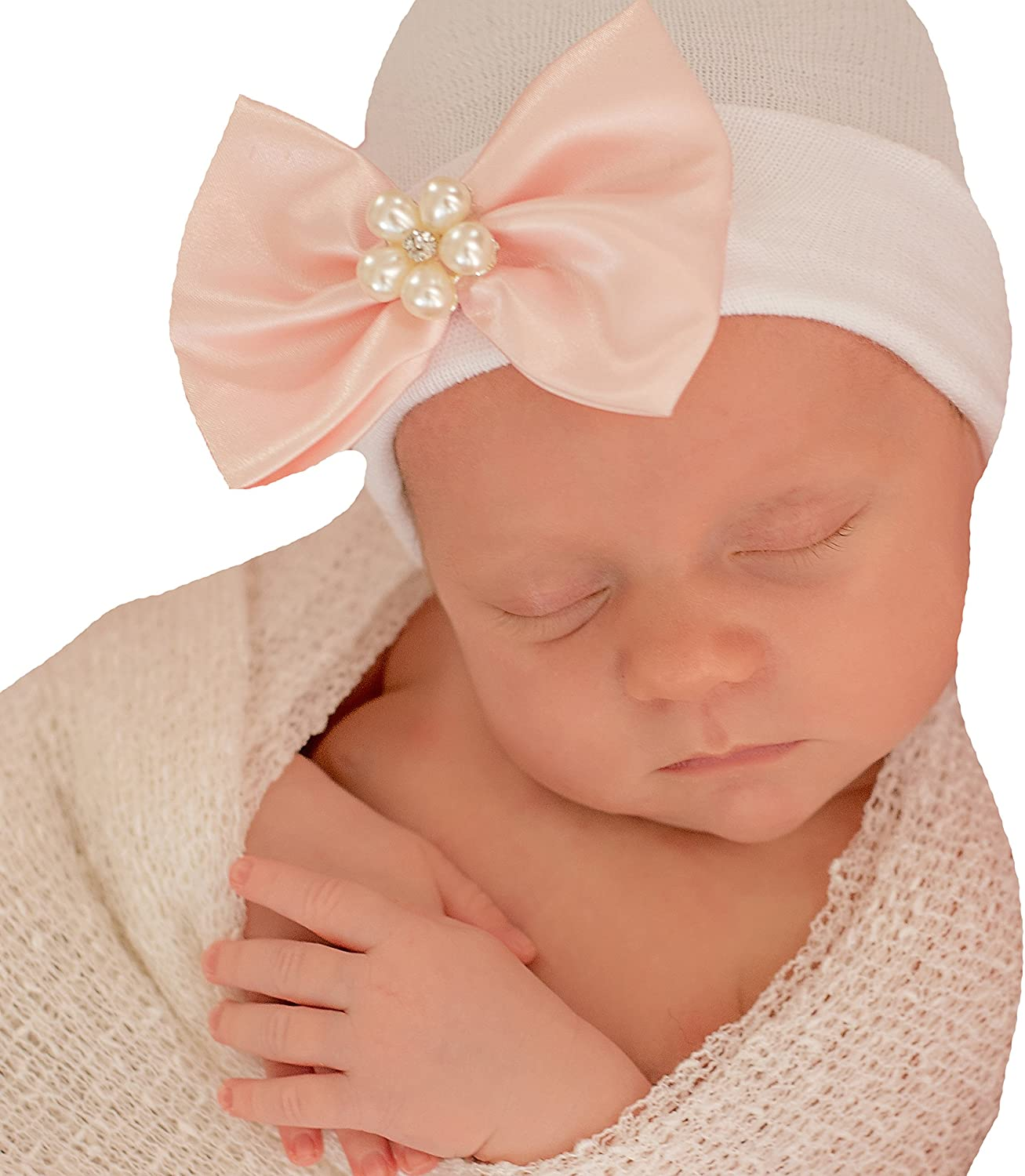 On White Hospital Hat Melondipity Priscilla Pink Satin Ribbon Bow Hat