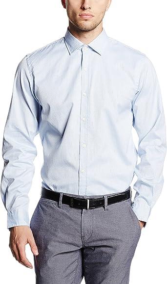 Cortefiel ESTRUCTURA LISA BICOLOR - Camisa para hombre, color azul, talla L: Amazon.es: Ropa y accesorios