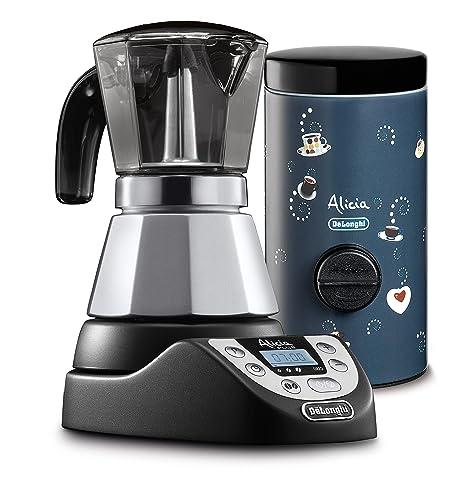 DeLonghi EMKP42.B - Cafetera eléctrica Alicia Plus, color plata Alicia Plus + dosificador de café Nero/Blu