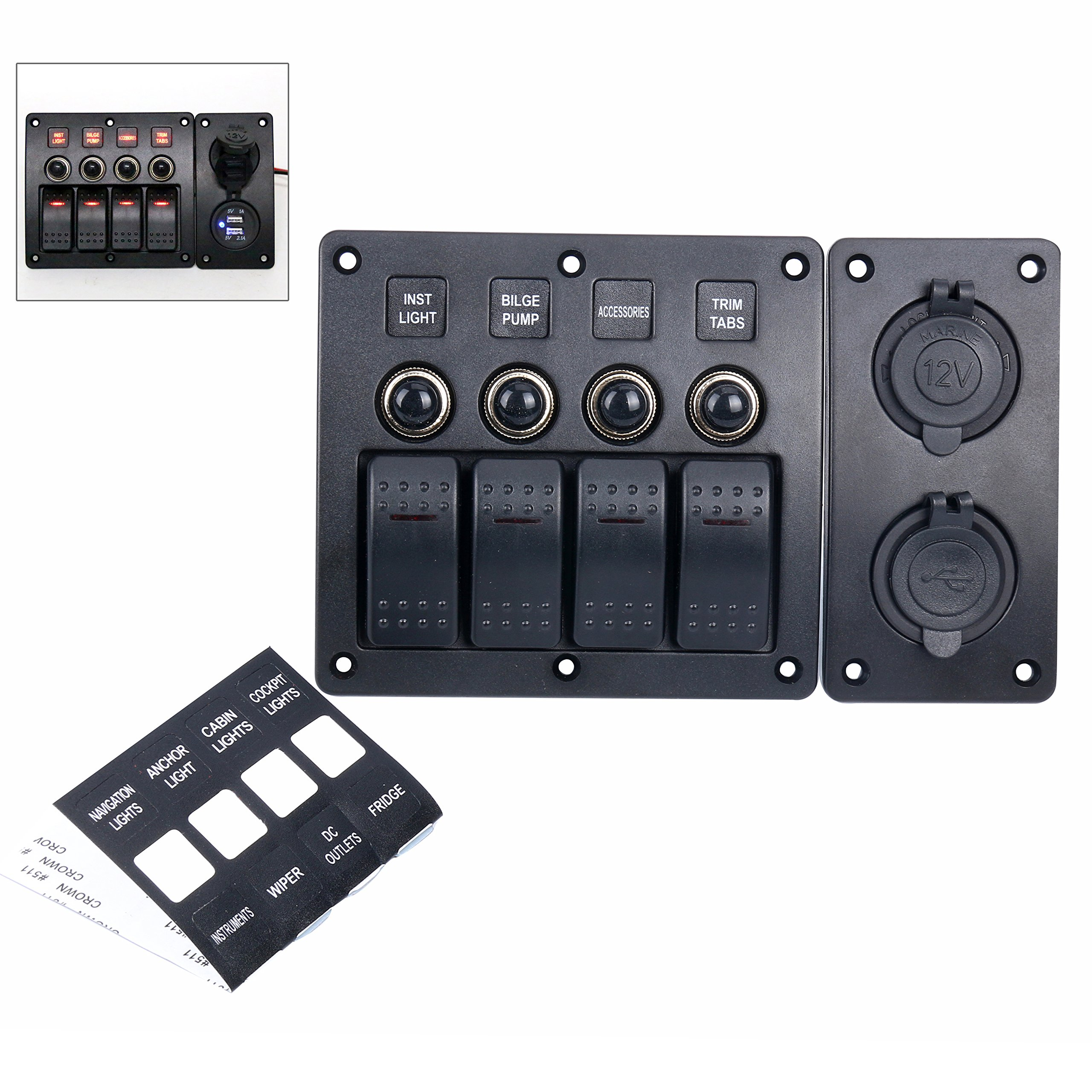 Amarine-made 4 Gang Red LED Indicators Rocker & Circuit Breaker Waterproof Marine Boat Rv Switch Panel Combined with Dual USB / 12v Power Adapter Panel - PN-CB4-R-CB1/S1S2