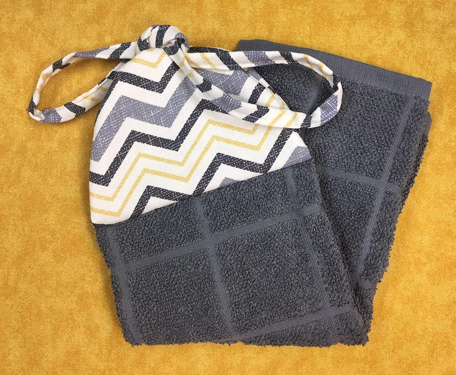 Grey Yellow Black Chevron Reversible Kitchen Hanging Hand Towel with Ties