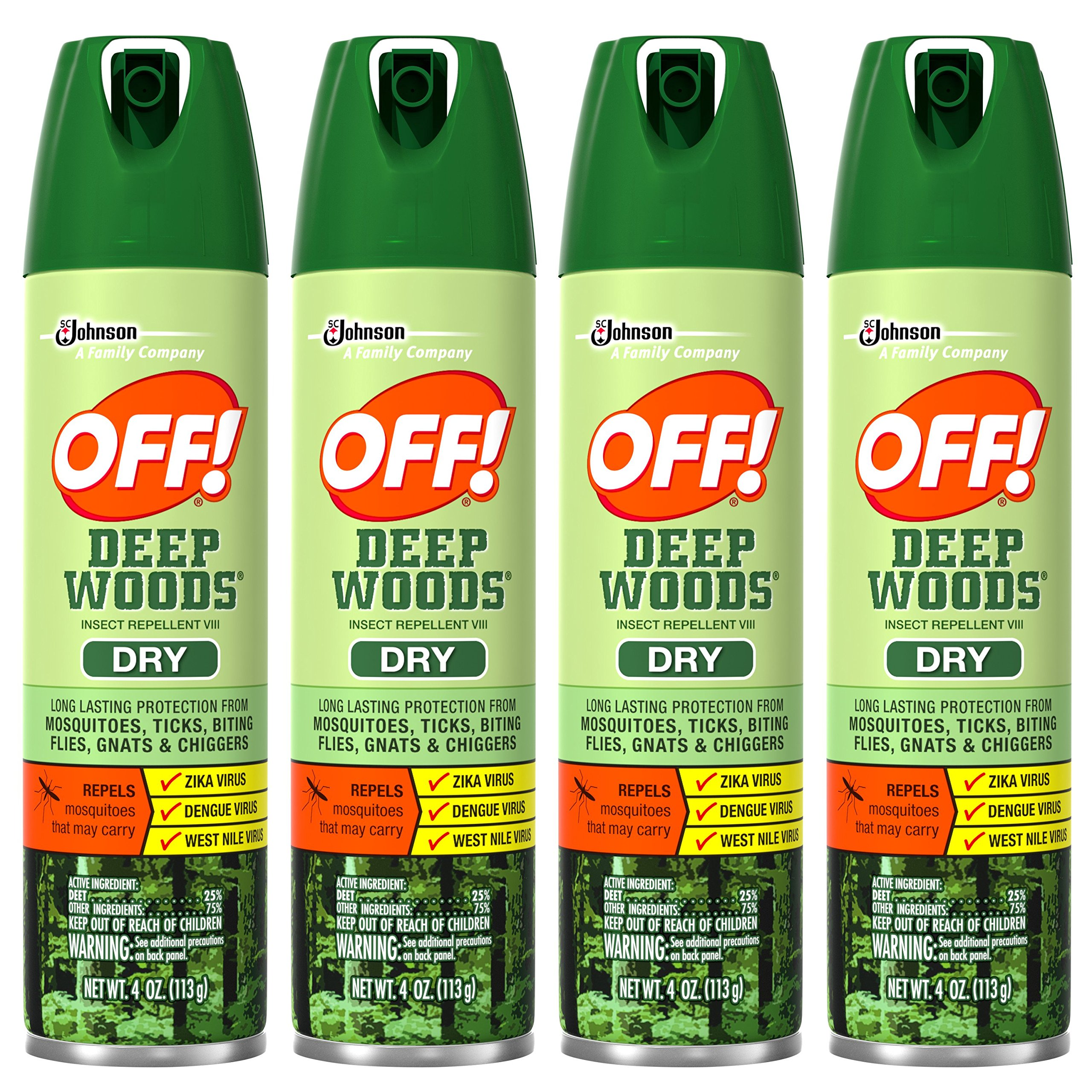 Off! Deep Woods Insect Repellent VIII Dry, 4 Ounce (Pack of 4)