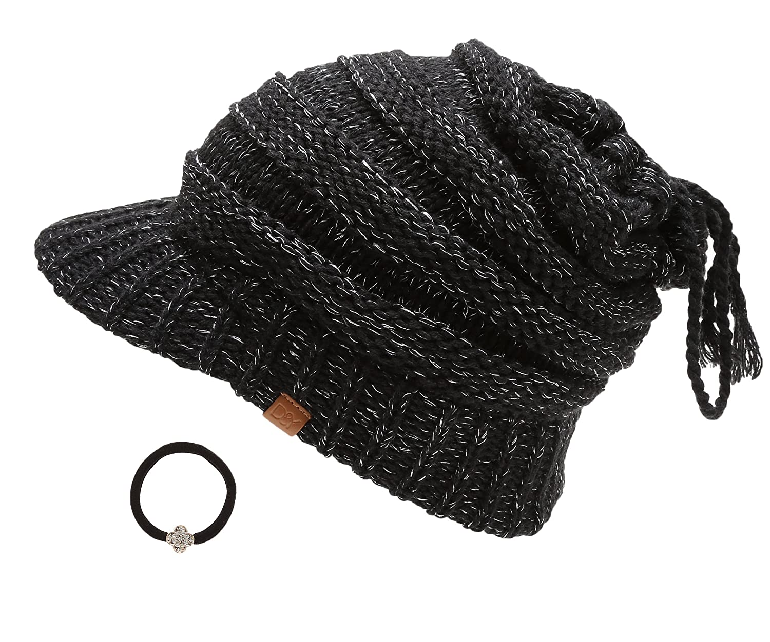 252bbb952aa D Y Women s Beanie Tail Cable Knit Visor Ponytail Beanie Hat With Hair Tie.(Black)  at Amazon Women s Clothing store